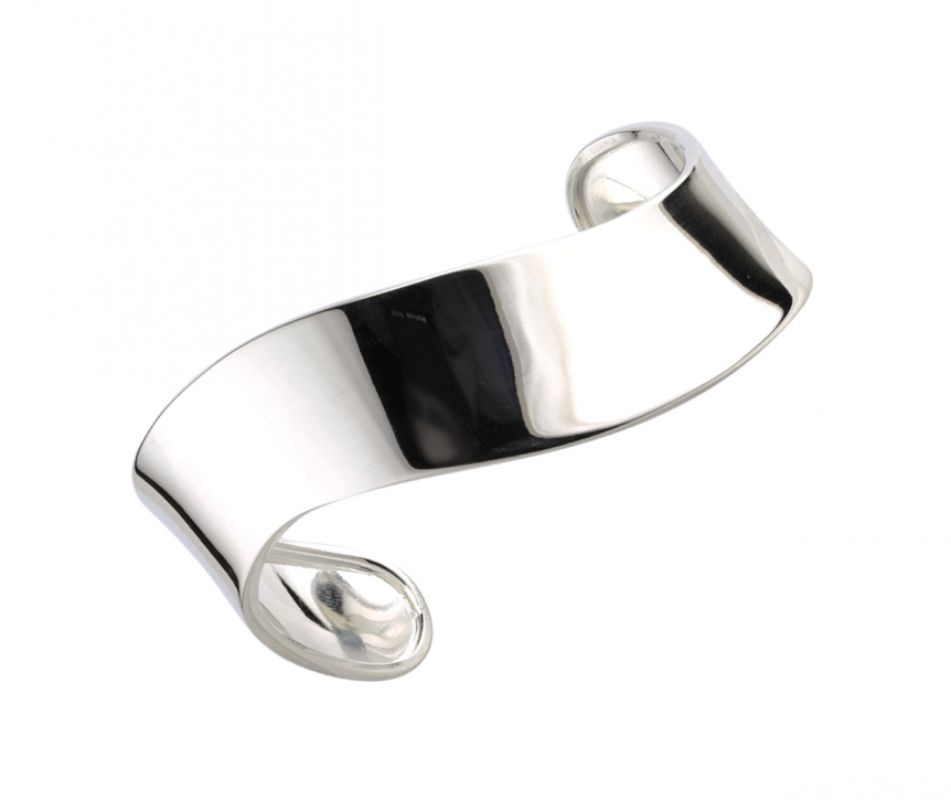 Solid silver wide wave bangle
