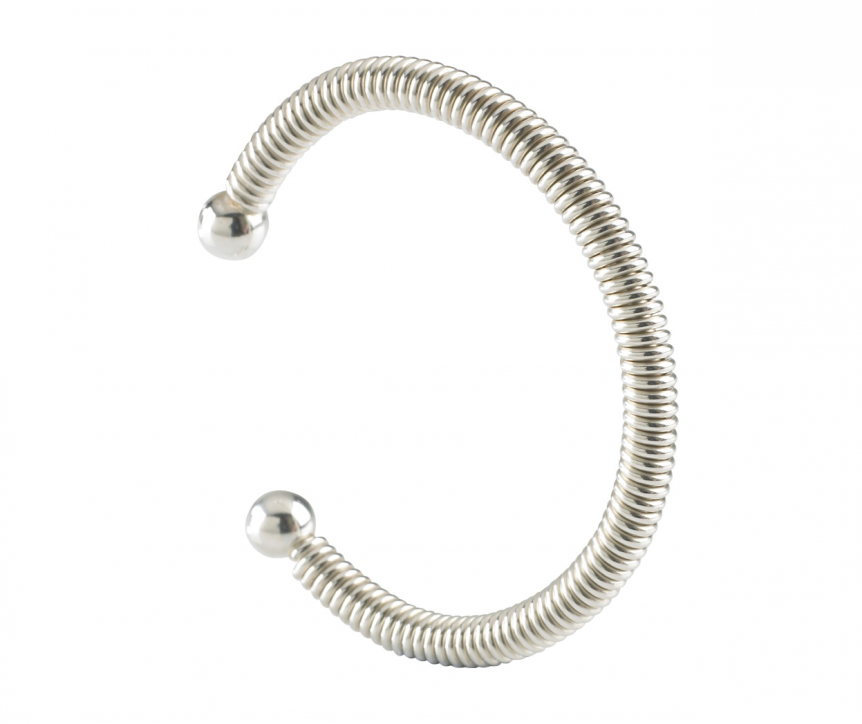 Solid silver torq bangle