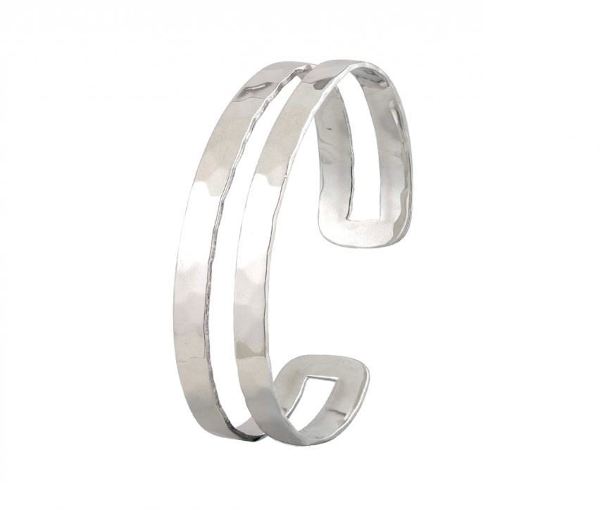 Solid silver hammered bangle