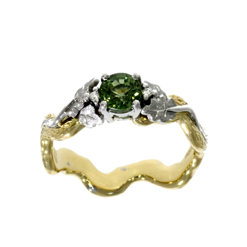 18ct white yellow gold green sapphire ring