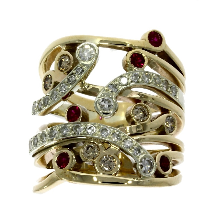 nwylde9ct white & yellow gold, diamond & ruby multi-stone dress ring