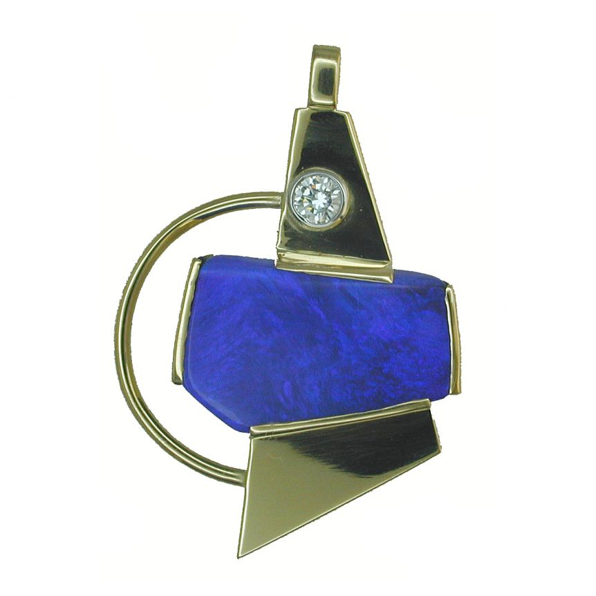 Wylde Offer (Bristol Shop): 18ct yellow gold, boulder opal & diamond two stone pendant