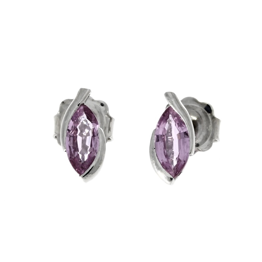 18ct white gold, pink sapphire earrings