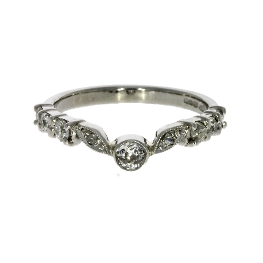 Platinum, diamond set ring