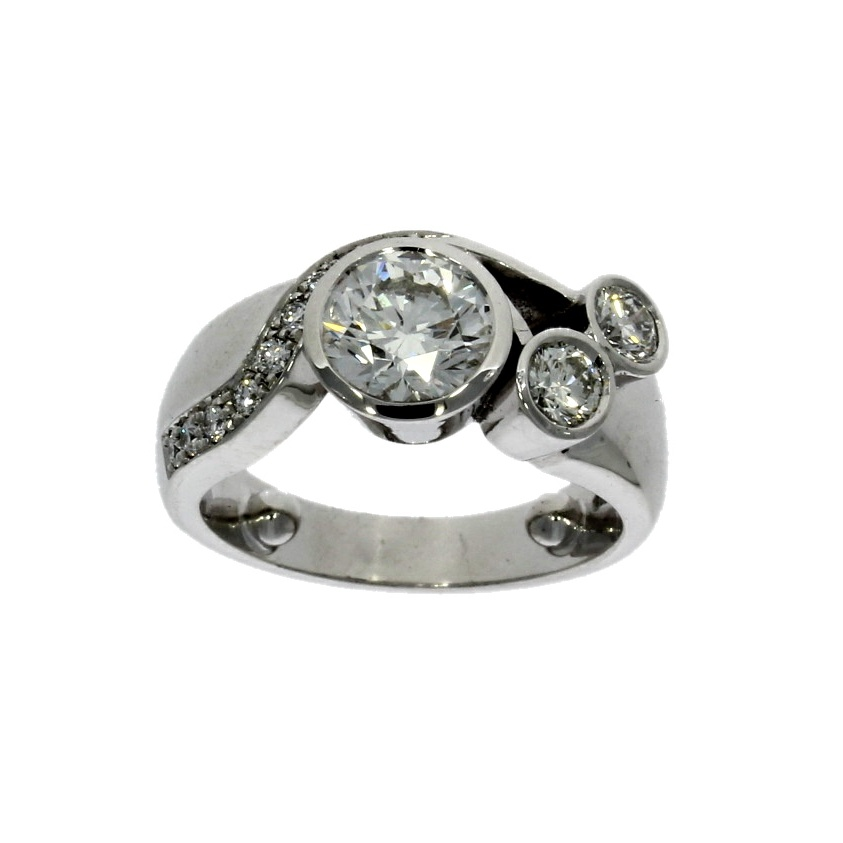 18ct white gold, multi diamond dress ring