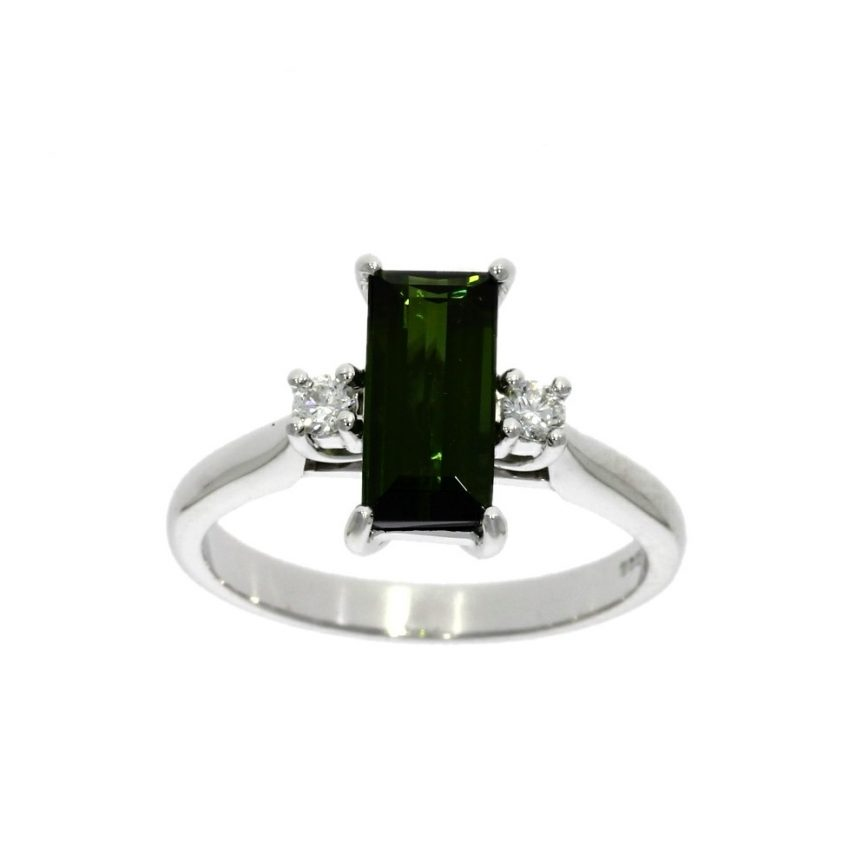 18ct white gold, tourmaline & diamond 3 stone ring