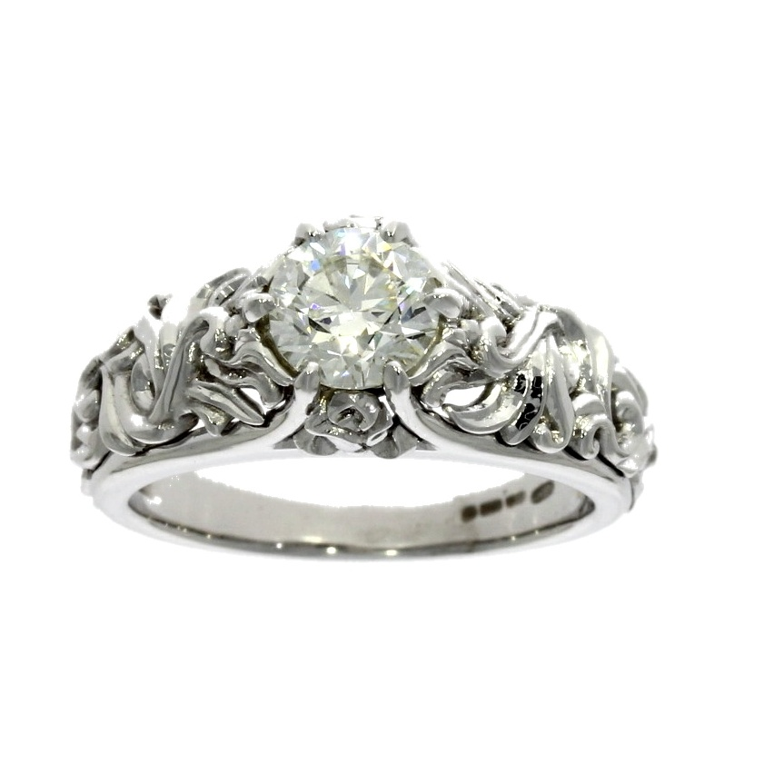 18ct white gold, diamond solitaire ring with engraved collet & shoulders