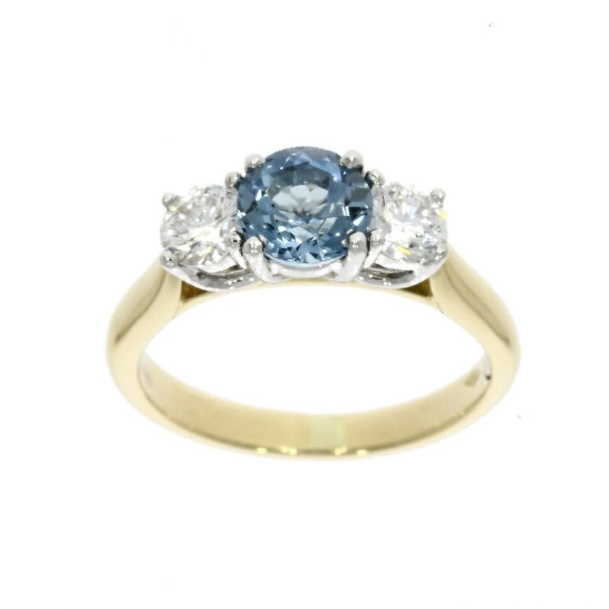 18ct white & yellow gold, aquamarine & diamond 3 stone ring