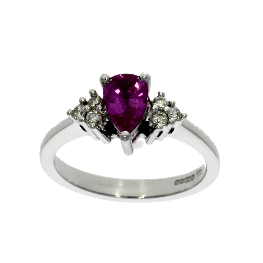 18ct white gold, pink sapphire & diamond 7 stone cluster ring
