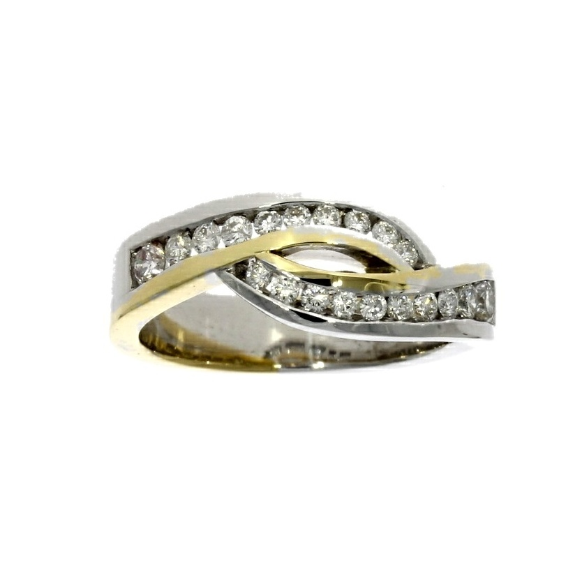 18ct white & yellow gold, diamond multi-stone dress ring