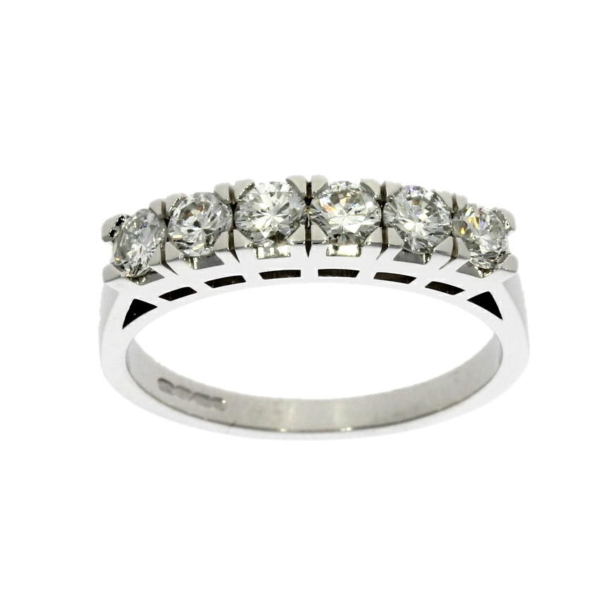 18ct white gold, diamond 6 stone eternity ring