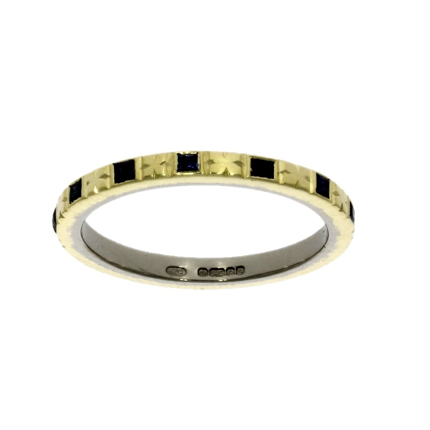 18ct yellow gold sapphire set eternity ring