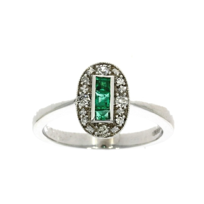 18ct white gold, emerald & diamond oval cluster ring