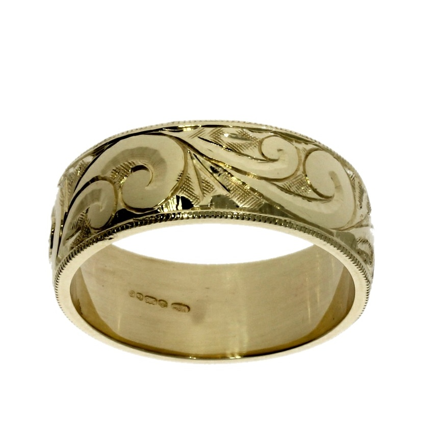 9ct yellow gold, engraved wide band ring