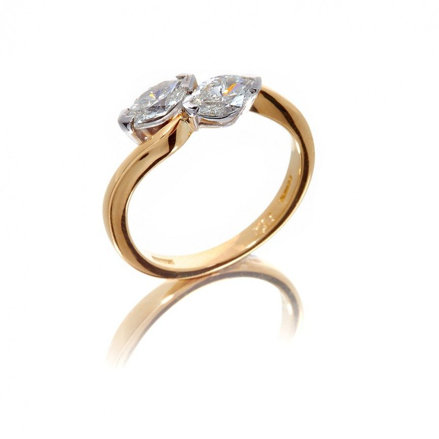 Mixed metal, diamond pear shape two stone engagement dress ring