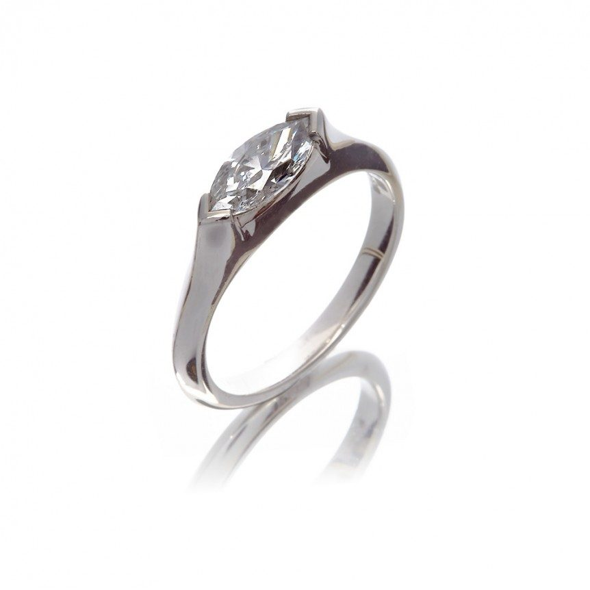 18ct white gold, engagement marquise single stone dress ring.