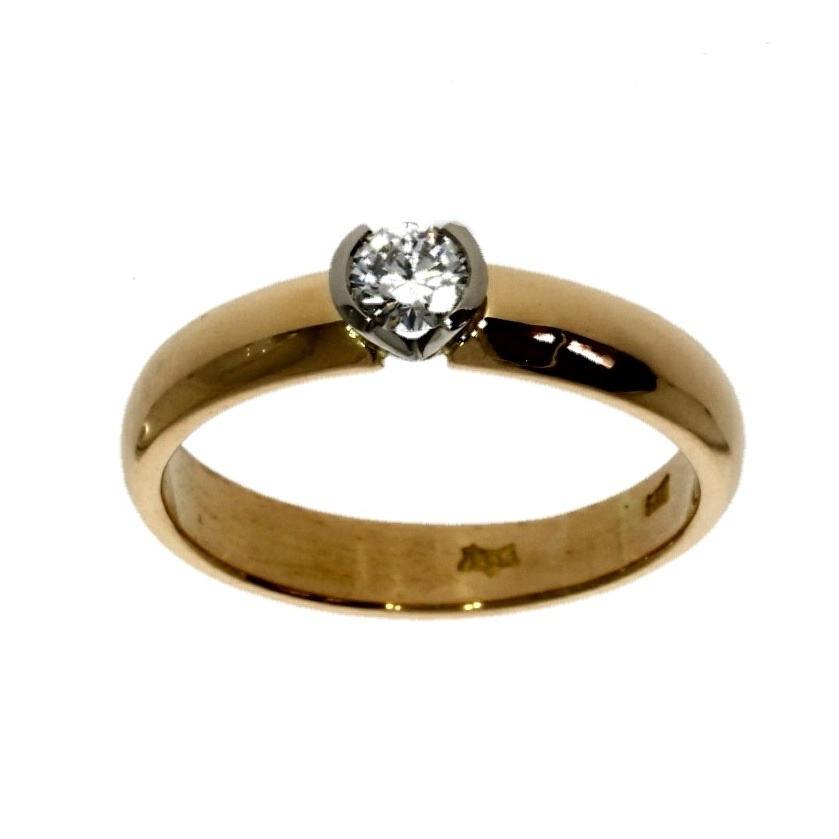 22ct yellow gold & 18ct white gold, diamond solitaire ring