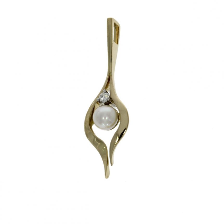 Pendant  A pearl and diamond two stone pendant consisting of a central pearl surrounded by an 18ct yellow gold split style drop design with a diamond above set in a 3-claw 18ct white gold  1 x white Akoya pearl measuring approx. 7mm 1 x round brilliant cut diamond weighing approx. 0.11ct and assessed approx. as clarity VS, colour G/H.  Total weight 5.6 grams Hallmarked 18ct gold, Birmingham, Sponsor NAW Made by Nicholas Wylde Goldsmith Ltd  NRV