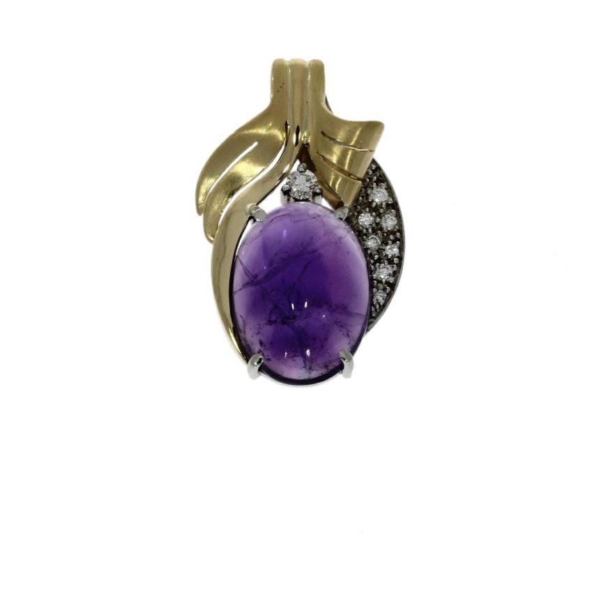 18ct white gold, amethyst & diamond 9 stone pendant