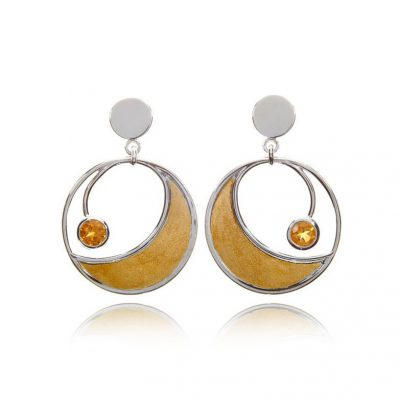 Round citrine mixed gold statement hoop studs