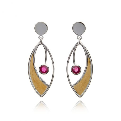 Marquise mixed gold statement white gold earrings
