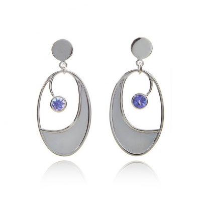 Oval statement tanzanite white gold stud drop earrings