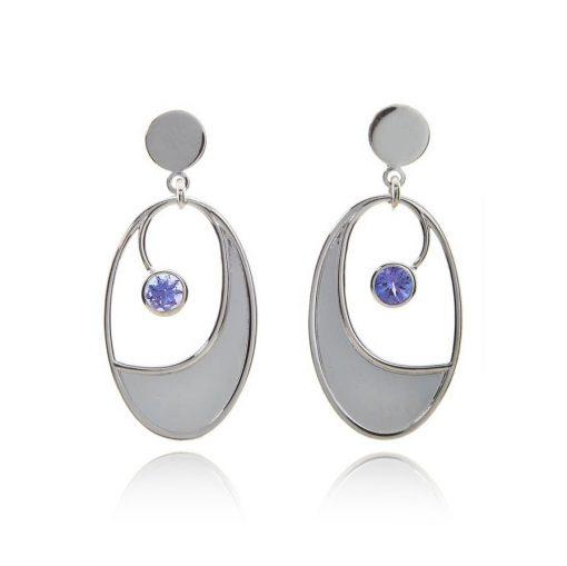 Oval statement tanzanite white gold stud drop earrings