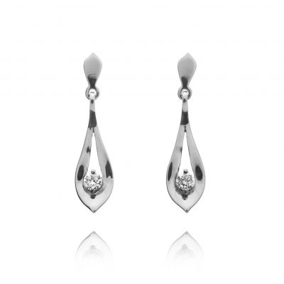 Small Wylde Flower Diamond leaf stud drop earrings
