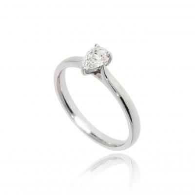 pear cut diamond engagement ring claw set tear shaped white metal platinum