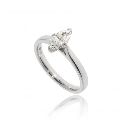 marquise cut diamond solitaire platinum white metal ring claw set classic engagement ring