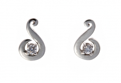 Diamond solitaire swirl earrings