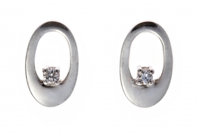Diamond solitaire oval earrings