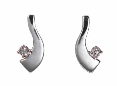 Diamond solitaire wave earrings