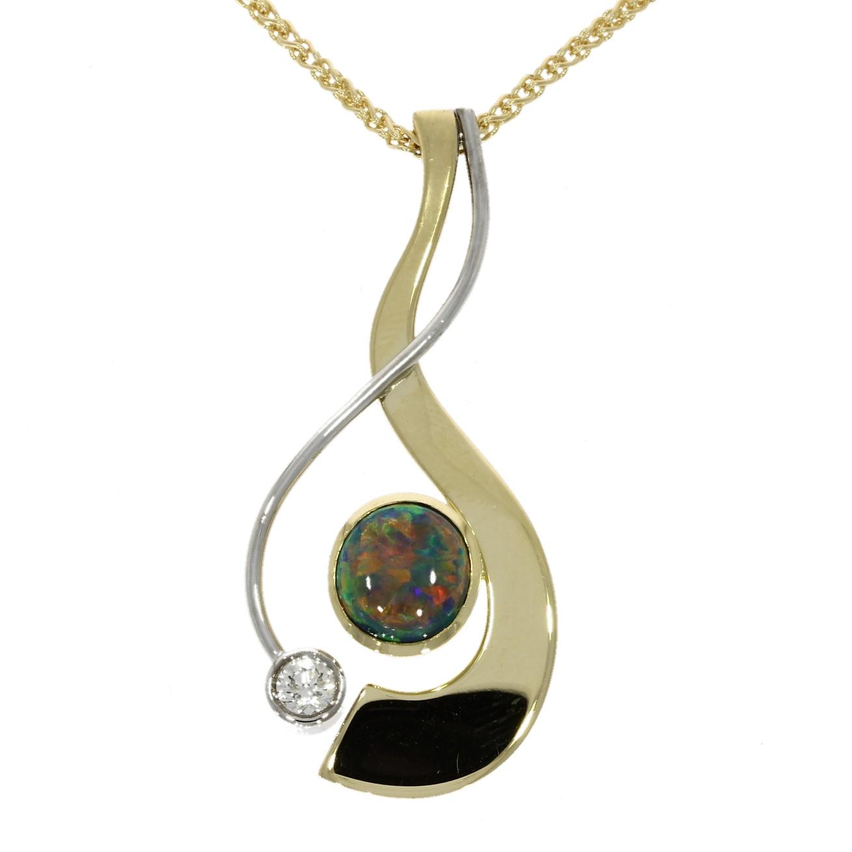 18ct yellow gold, black opal pendant