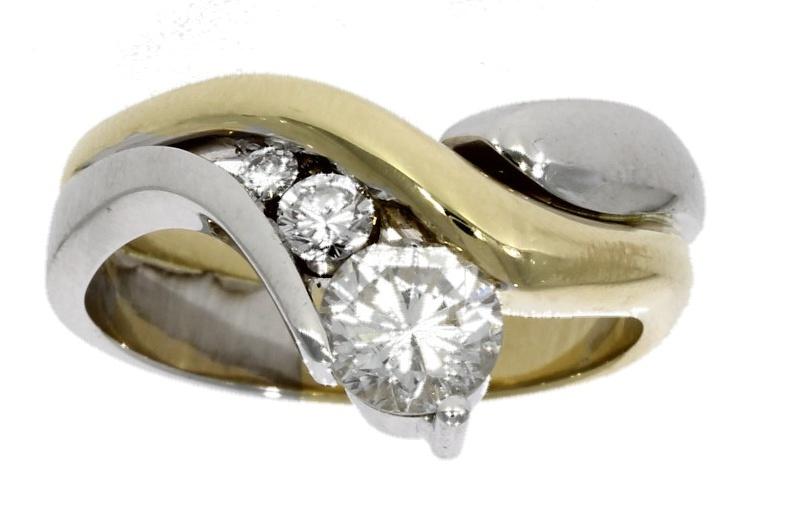 18ct yellow & white gold, diamond three stone ring