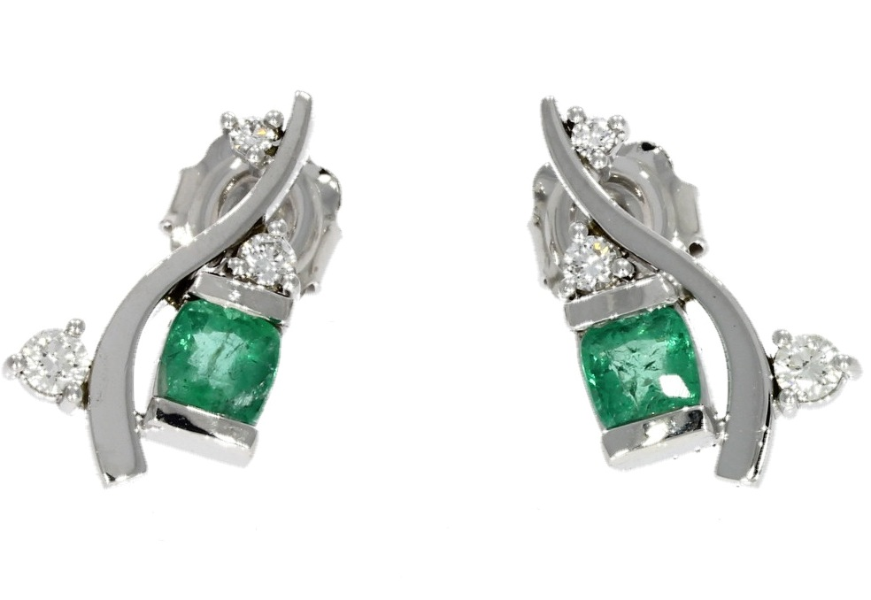 White gold, emerald & diamond wave-style earrings