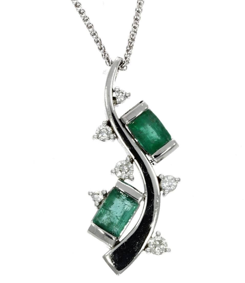 White gold, emerald & diamond, wave-style set pendant