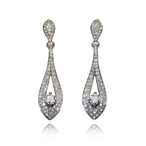 Glittering leaf earrings featuring the Wylde Flower Diamond
