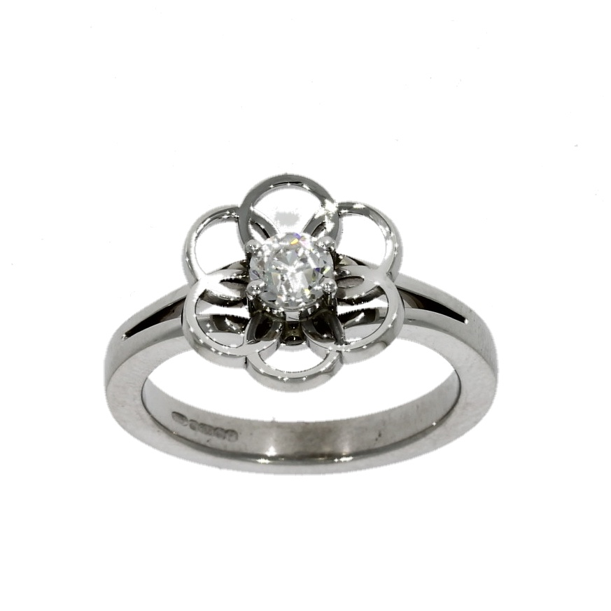 18ct white gold, diamond solitaire flower design ring