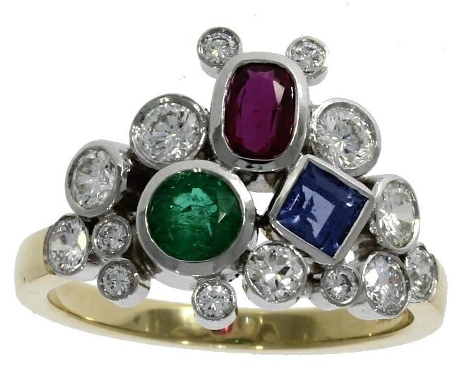 18ct yellow gold, diamond & multi-gemstone dress ring