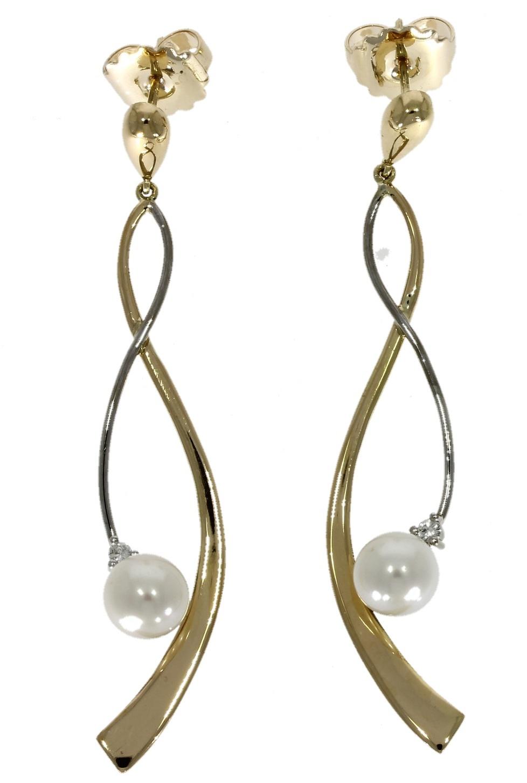 18ct yellow gold, freshwater pearl & diamond drop earrings