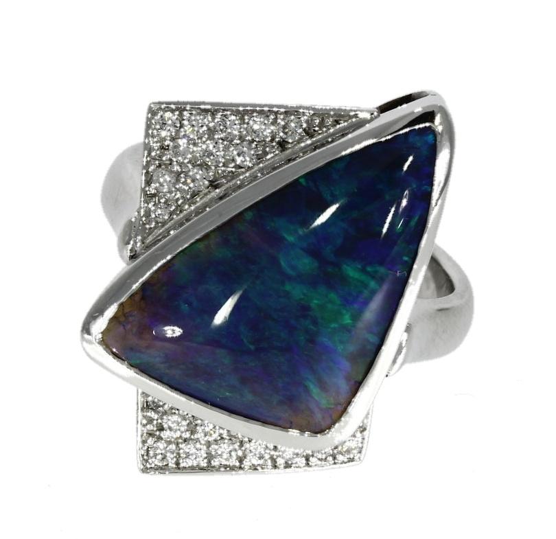 18ct white gold, opal & diamond ring