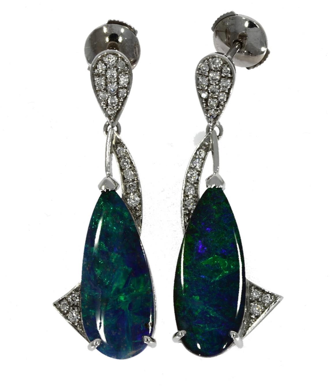 18ct white gold, opal & diamond earrings
