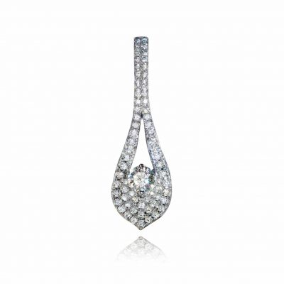 Wylde Flower Diamond encrusted leaf inspired pendant