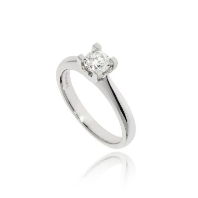 diamond solitaire ring angagement ring platinum white metal
