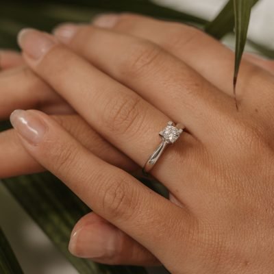engagement ring solitaire platinum ring half carat 0.5ct