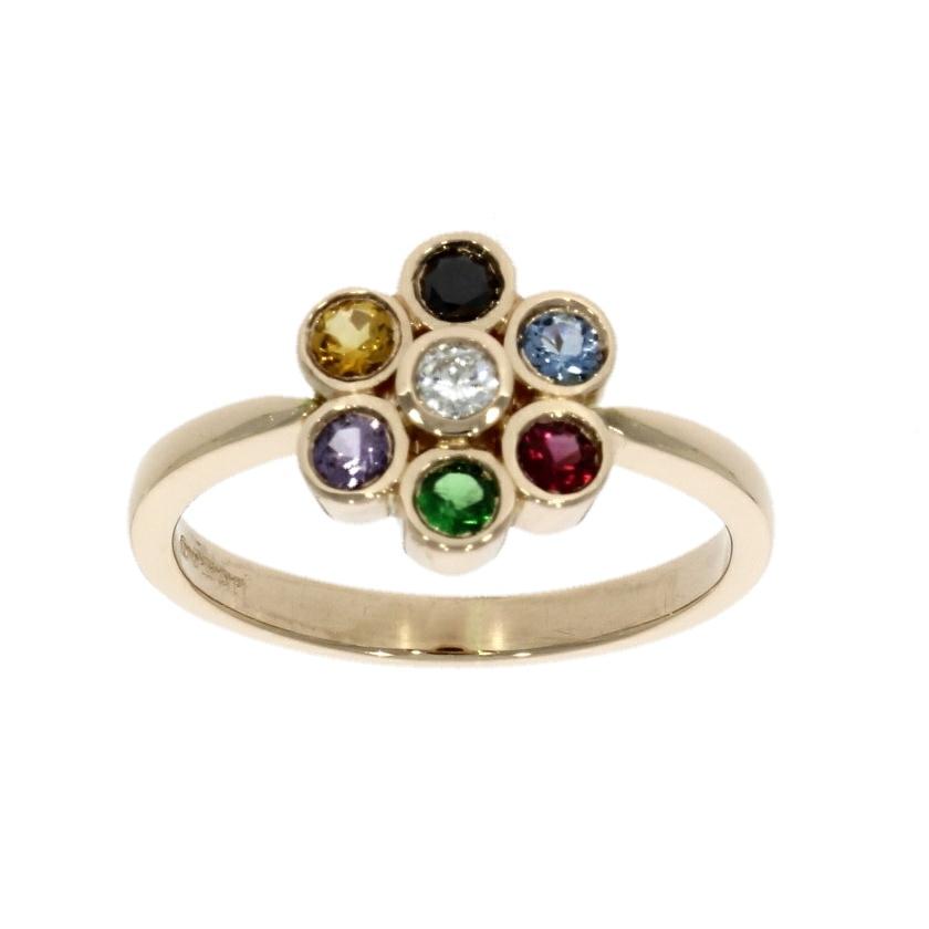 18ct rose gold, multi gemstone flower design ring