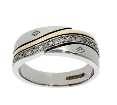 18ct white & 9ct yellow gold diamond multi-stone ring