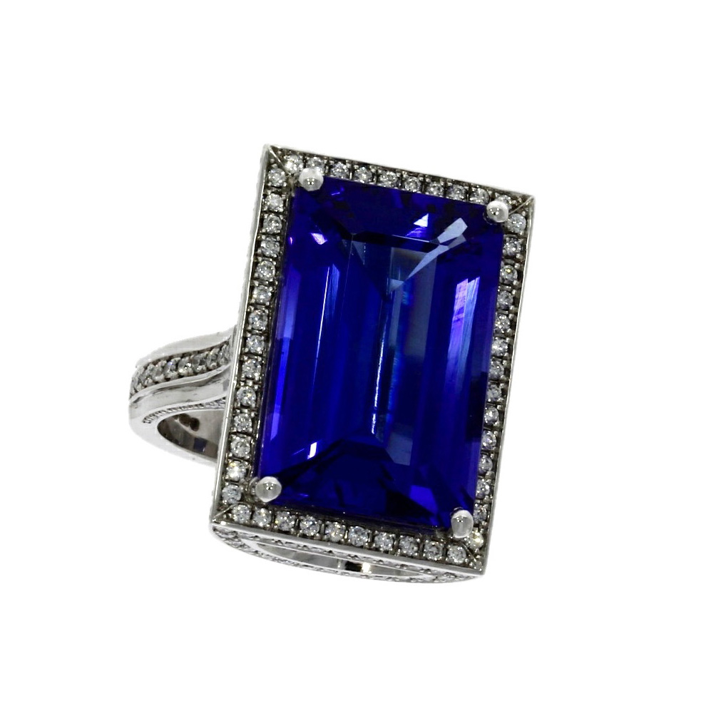18ct white gold, tanzanite & diamond dress ring