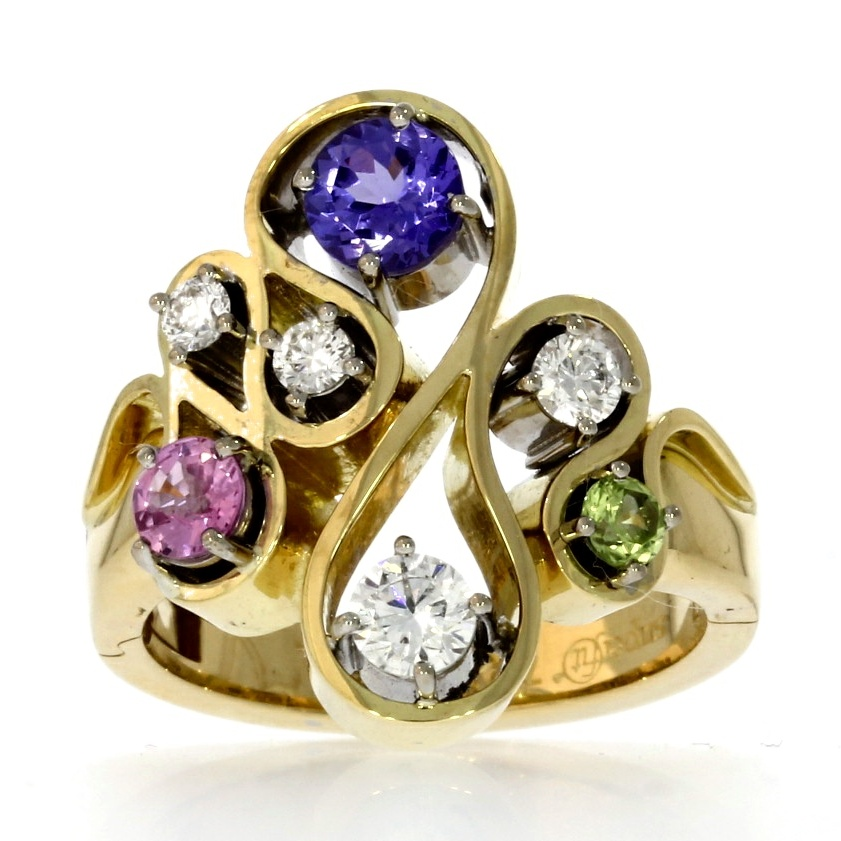 18ct yellow & white gold, multi-gemstone Superfit™ ring